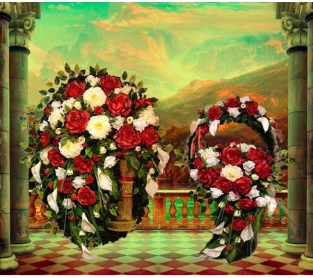 Ритуальный комплект: Ритуальный венок АВ-1 + Ритуальная корзина АК-1 ViP ОПТ